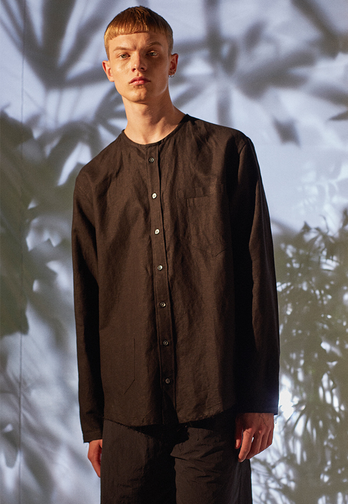 3Pocket COLLARLESS Linen Shirt_ Black