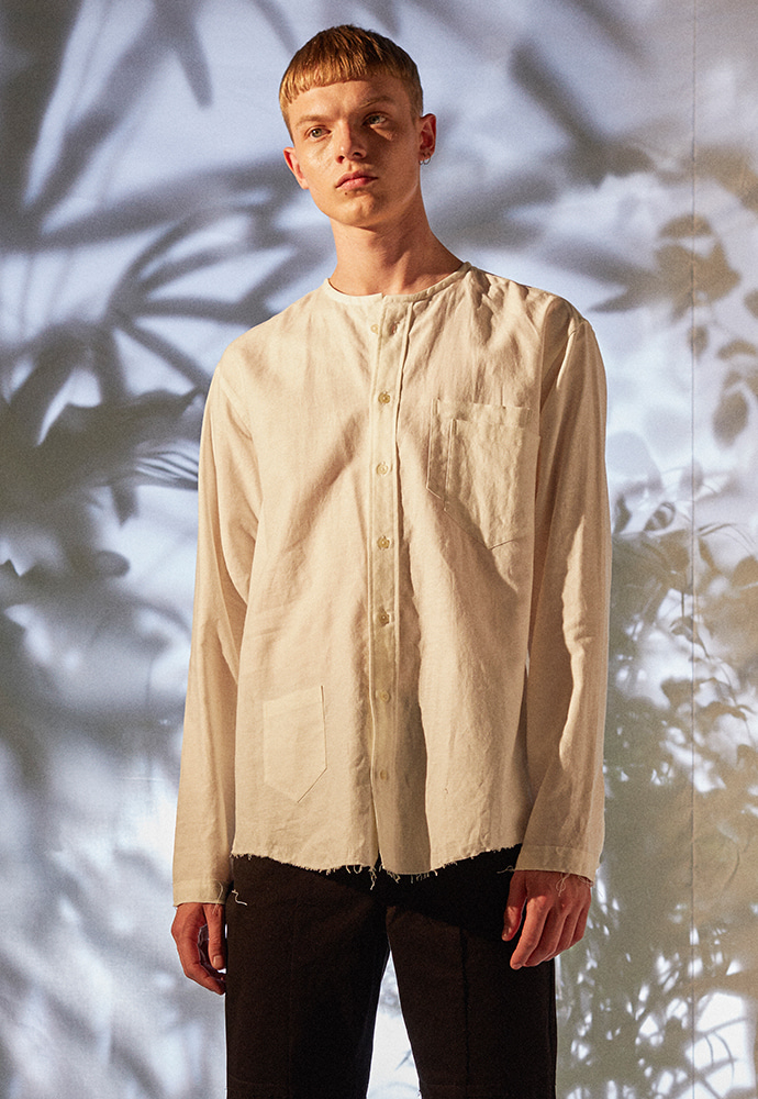 3Pocket COLLARLESS Linen Shirt_ White