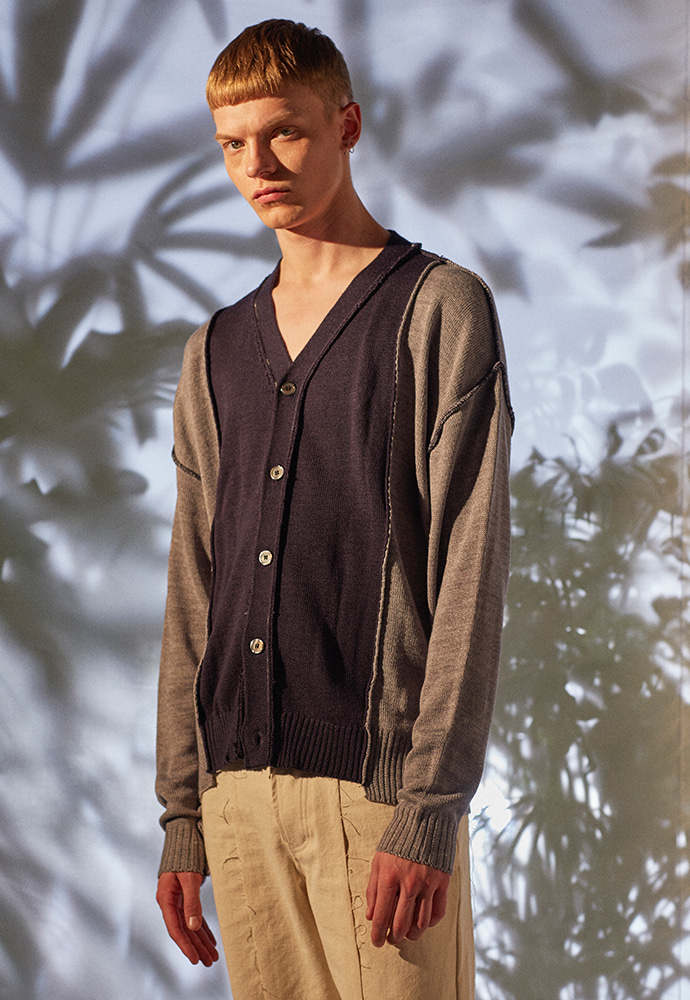 Segment Reversible Spring Cardigan_ Grey/Navy