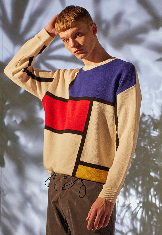 Modern Geometry S/S Sweater_ Ecru