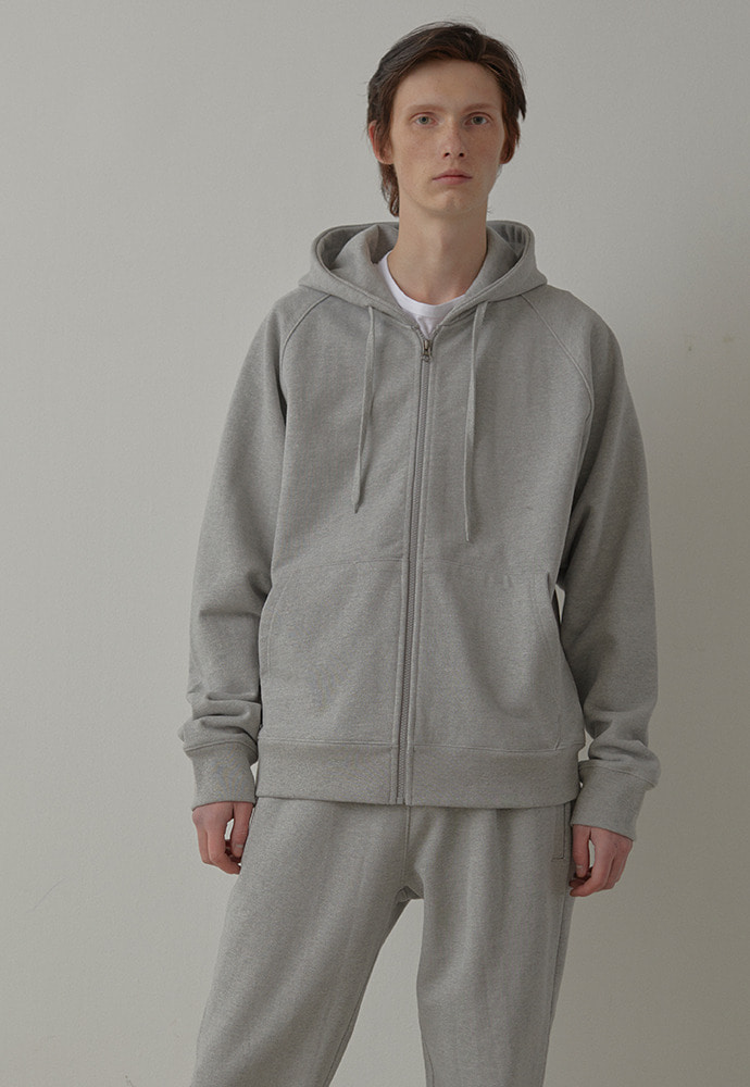 Heavy Hooded Sweat Shirt(zipup)_ Melange Grey