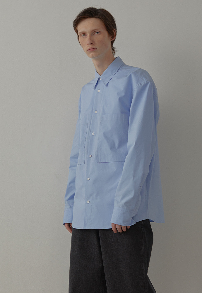 4 Pocket Oversized shirts_ Sky Blue