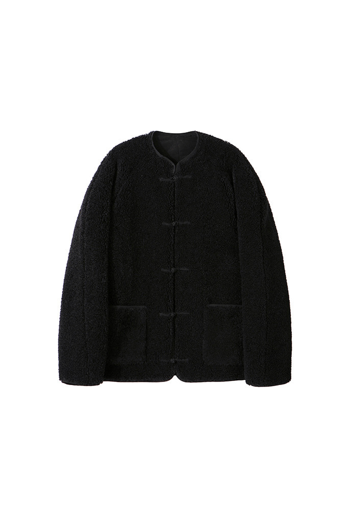 Oriental Styled Fleece Jumper(Reversible)_ Black