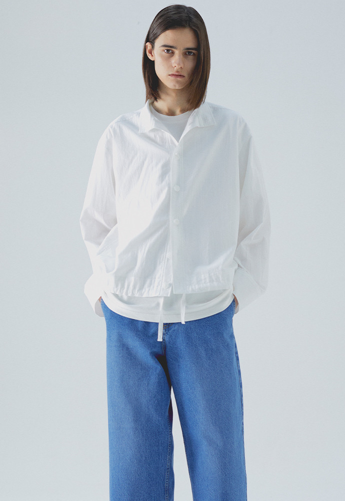 Stand Collar Shirts_ White