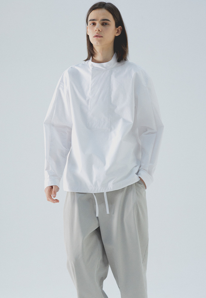 High Neck Pullover Shirts_ White