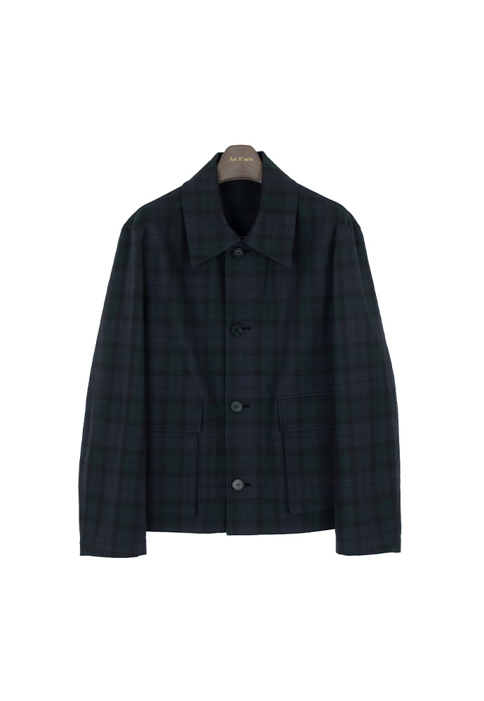Cropped Field Jacket_ Black Watch