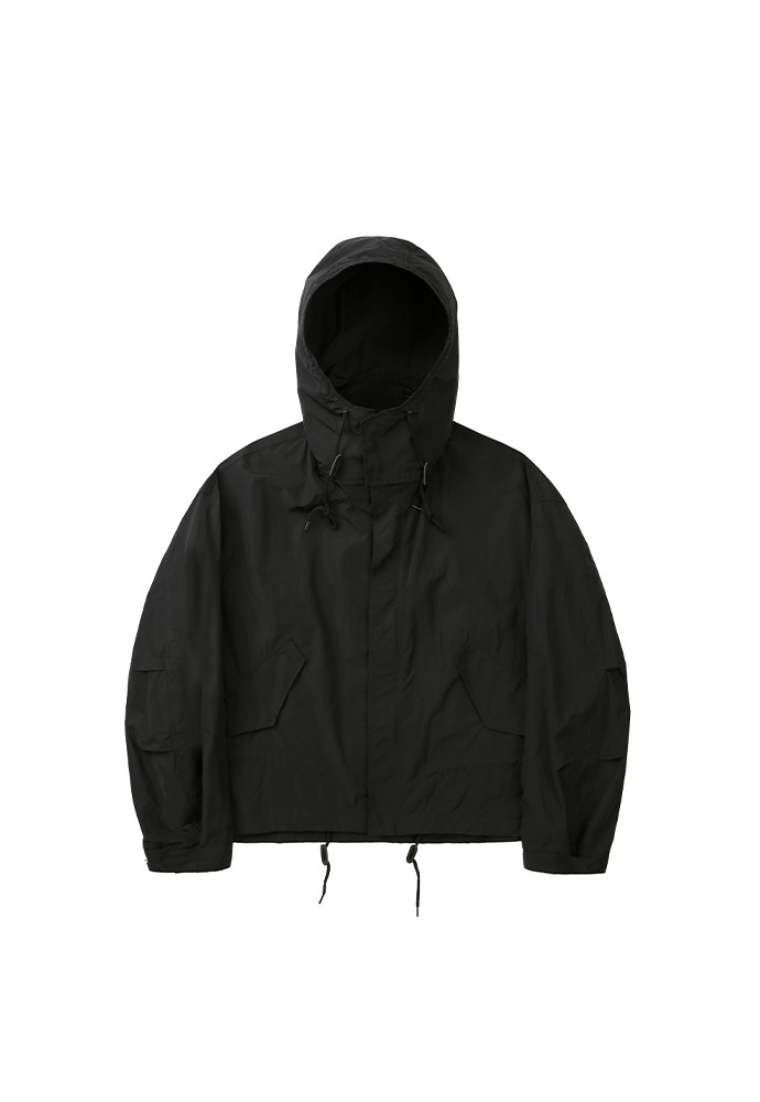 Cropped Fishtail Parka_ Black