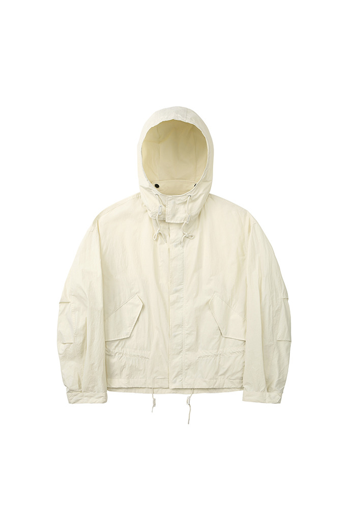 Cropped Fishtail Parka_ Cream