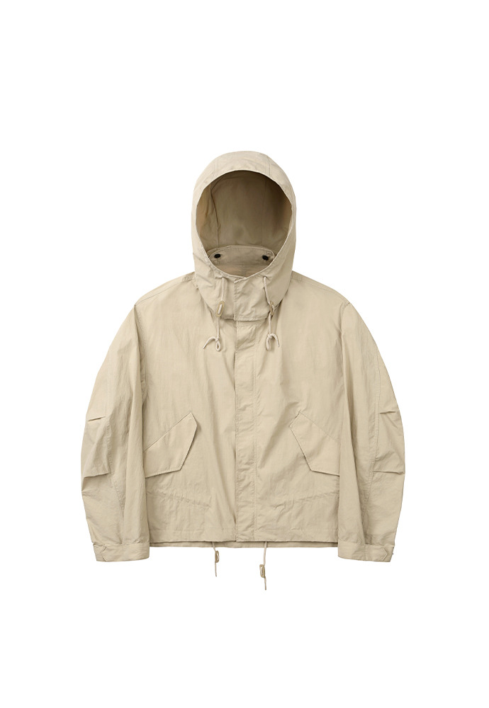 Cropped Fishtail Parka_ Beige