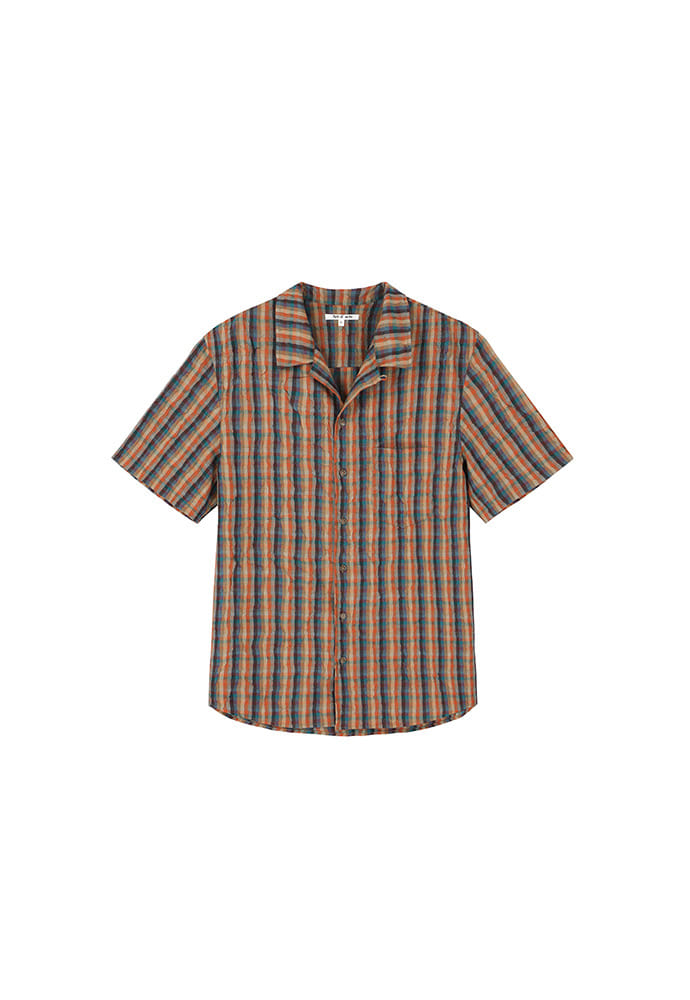Clip Pleats Half Shirts_ Orange