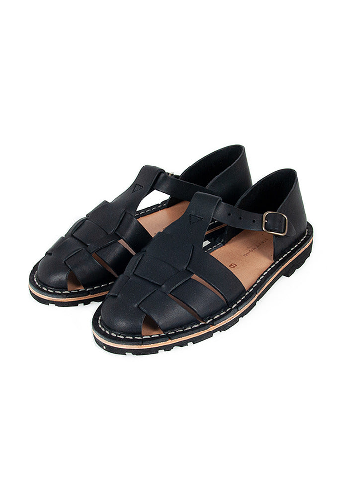 Steve Mono - 10/01 Artisanal Sandals Vegetable Tan Calfskin_ Black