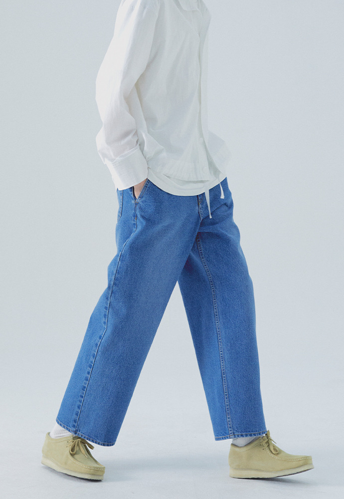 Minimal Wide Denim Pants_ Mid Blue