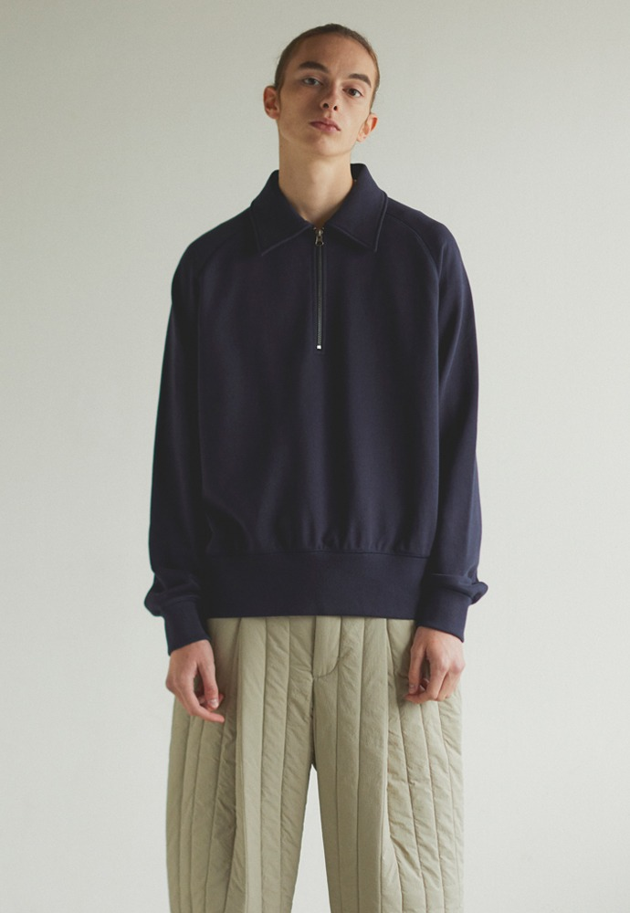 Half Zipup Sweat Shirt_ Dark Navy