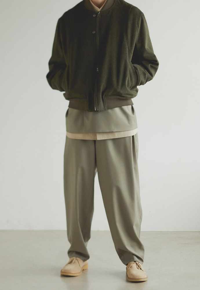 Wool Side Tucked Pants_ Ash Khaki