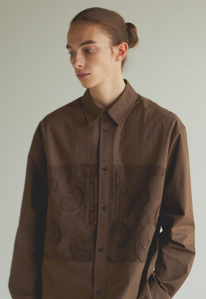 Paisley Pocket Shirt_ Brown