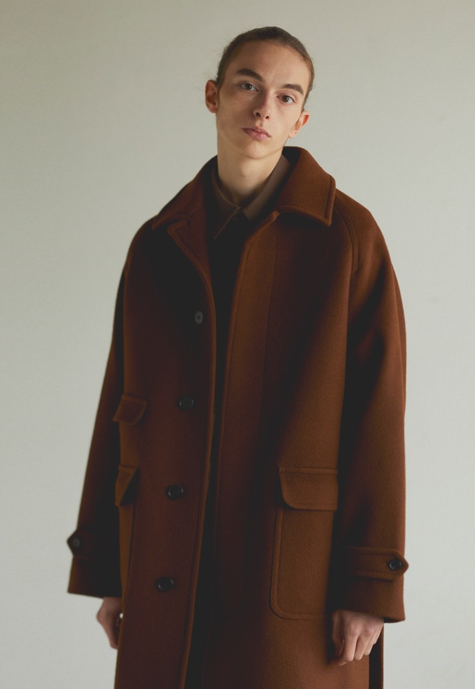 Balmacaan Coat_ Redish Brown