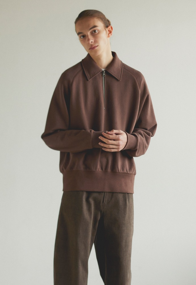 Half Zipup Sweat Shirt_ Brown