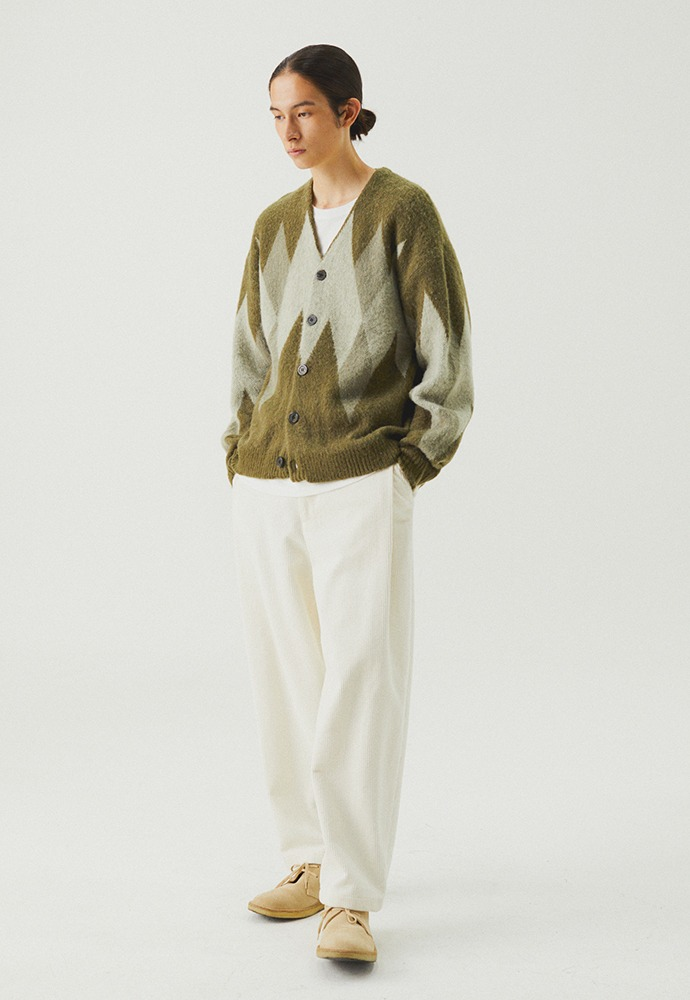 Argyle Mohair Knit Cardigan_ Sage Green