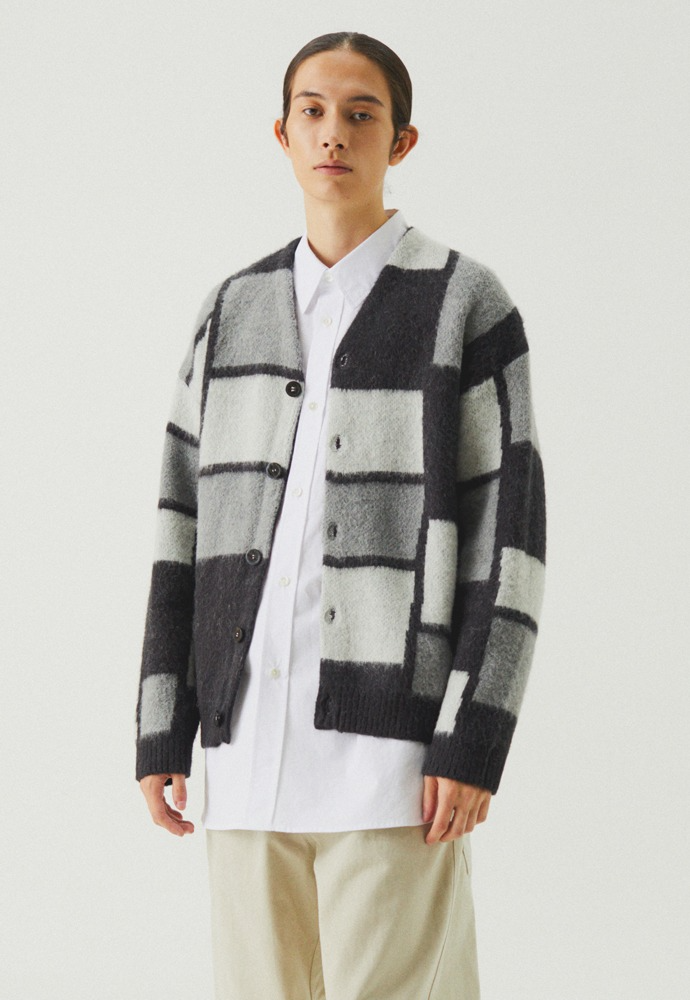 Ractangular Mohair Knit Cardigan_ Charcoal