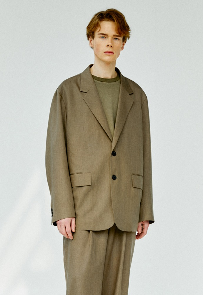 Relaxed 2 Button Single Jacket_ Khaki Brown