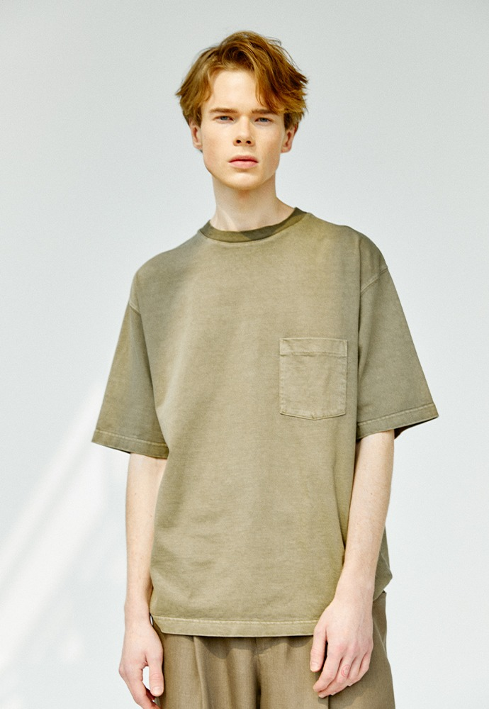 One Pocket Garment Dyeing T-Shirts_ Olive