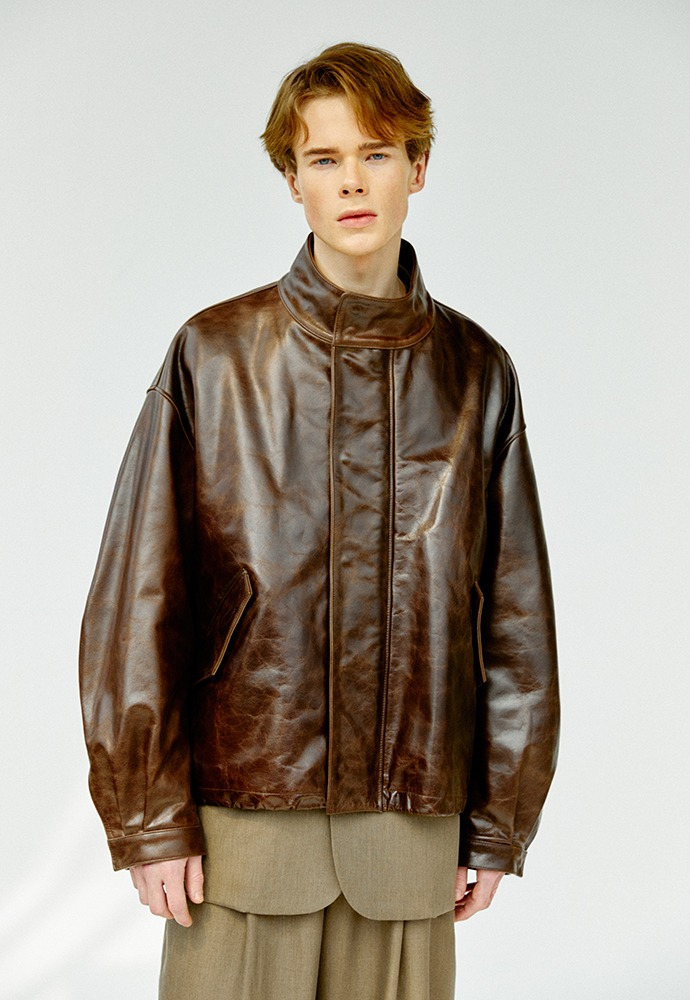 High Neck Collar Leather Jacket_ Brown