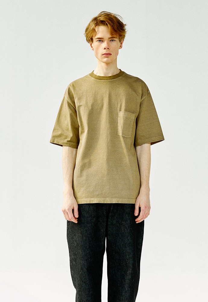 One Pocket Garment Dyeing T-Shirts_ Brown