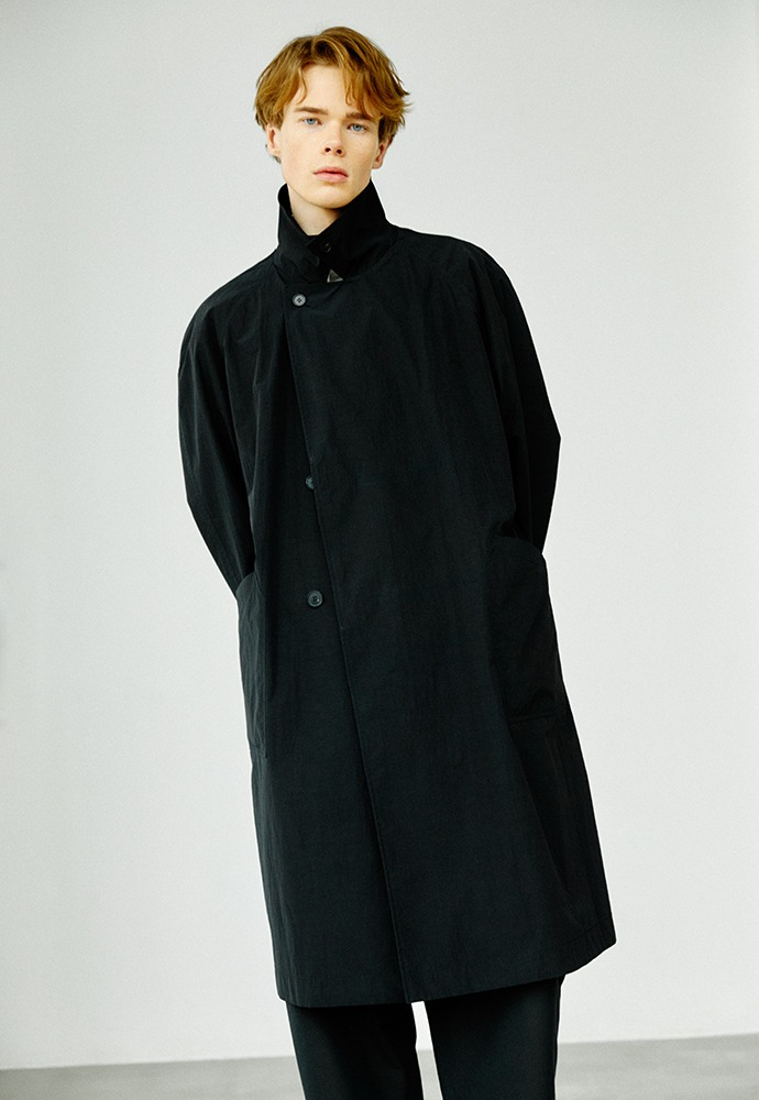 Double Breasted Paper Coat_ Black