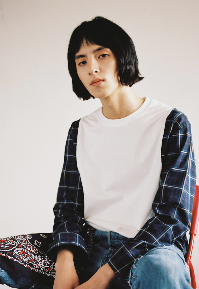 [새소년 황소윤 착용] S00T2 Shirts Long Sleeve_ Navy Check/Ecru