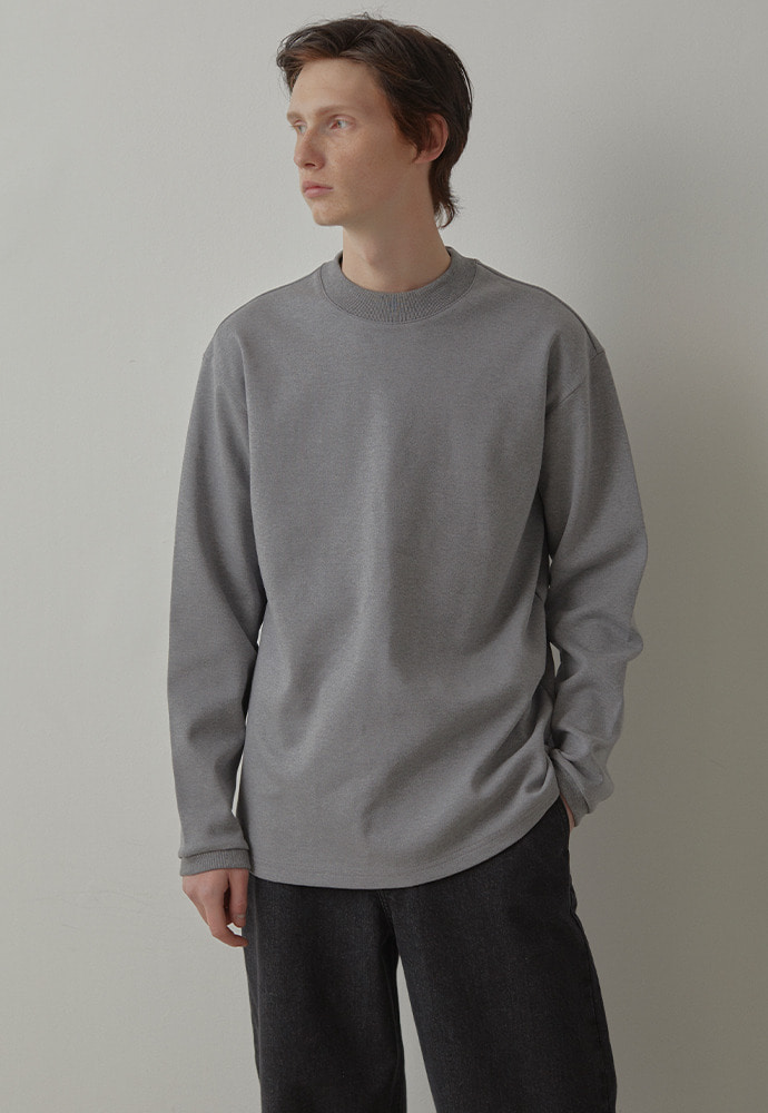 Mock Neck Long Sleeve_ Melange Grey