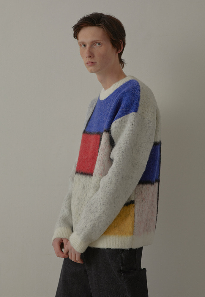 [이진혁 착용] Modern Geometry Sweater_ Ecru