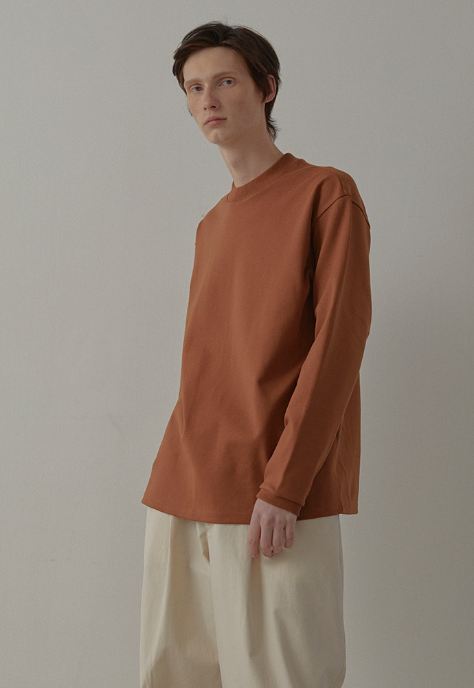Mock Neck Long Sleeve_ Camel