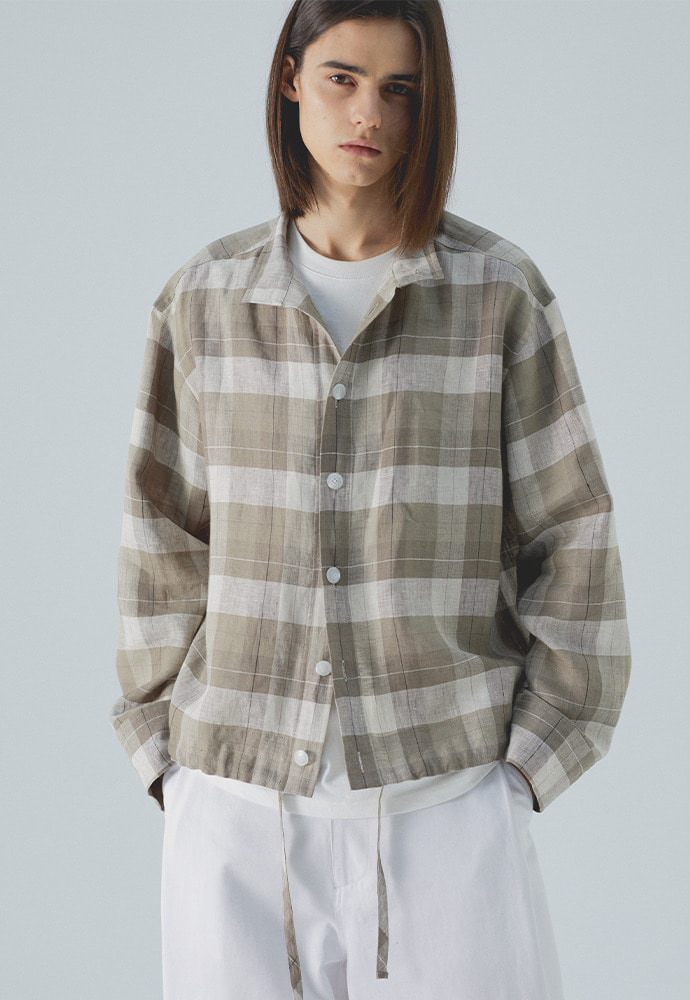 Stand Collar Shirts_ Check Brown