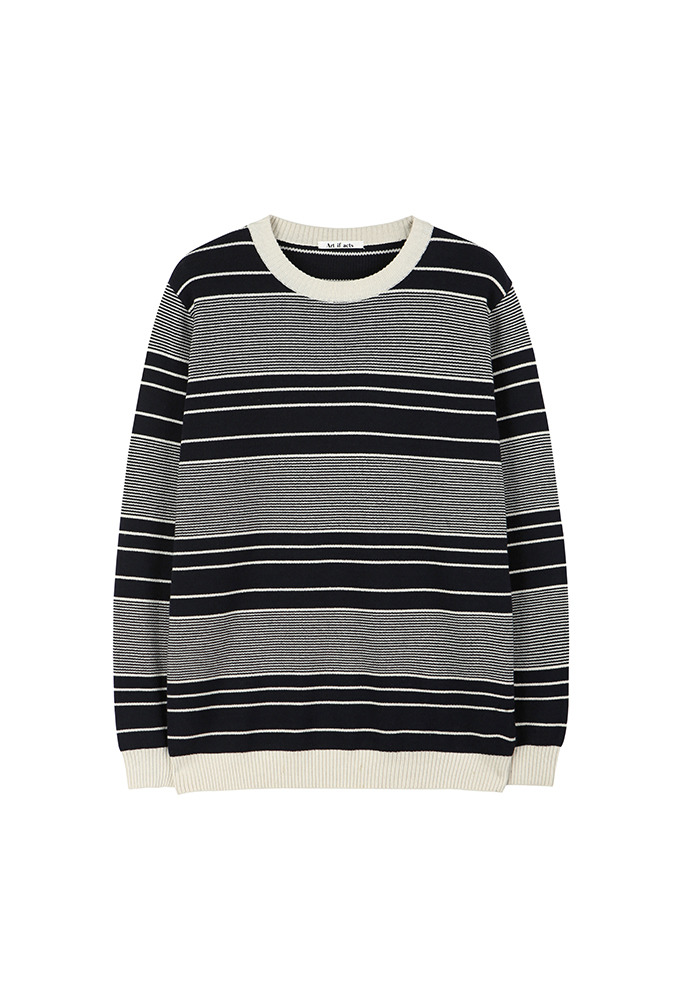 Cotton Stripe Knit_ Navy