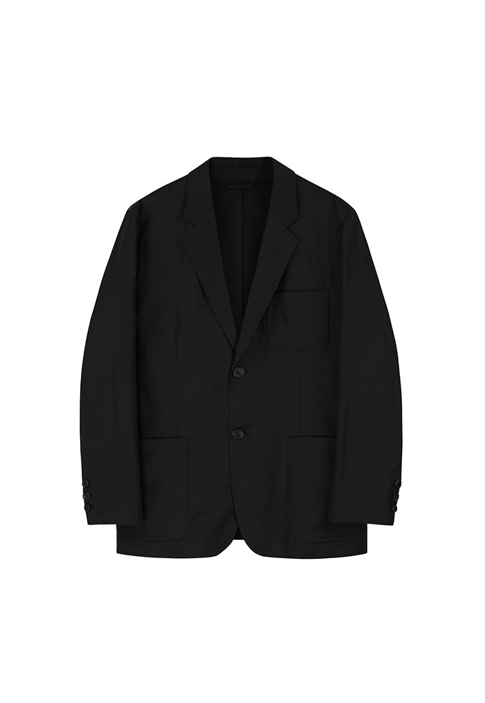 2 Button Cotton Blazer_ Black