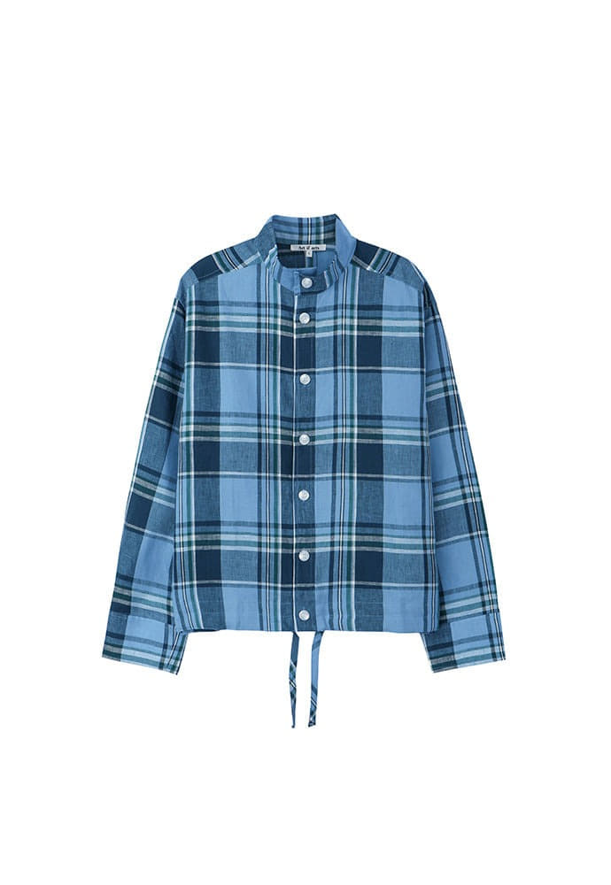 Stand Collar Shirts_ Check Blue