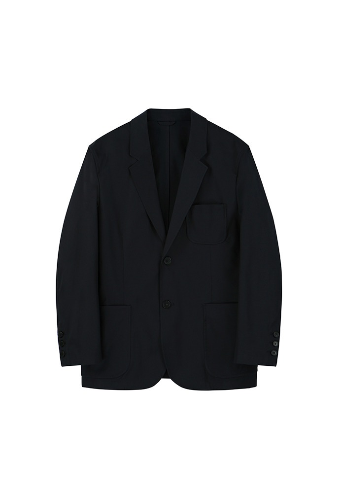 2 Button Cotton Blazer_ Navy