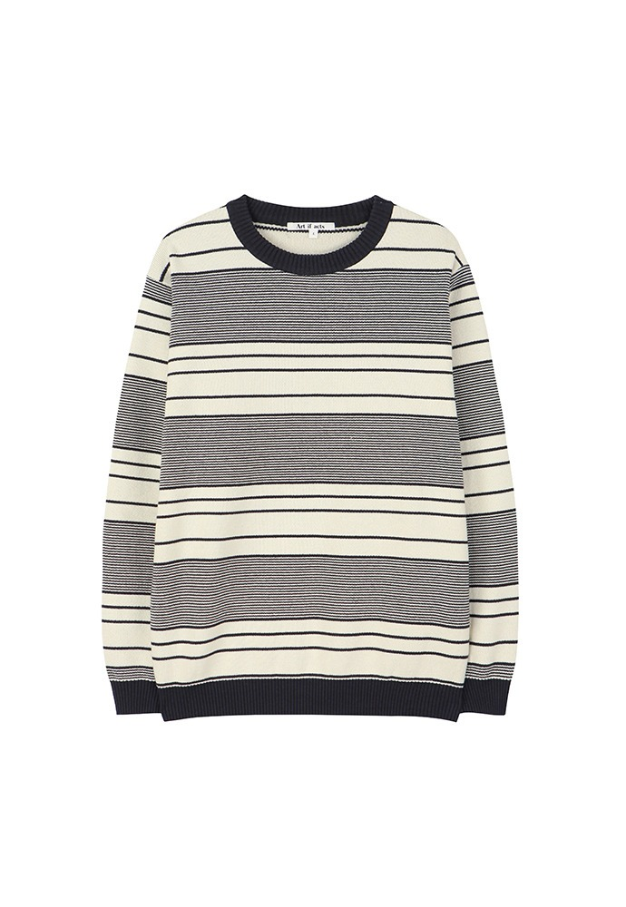 Cotton Stripe Knit_ Cream