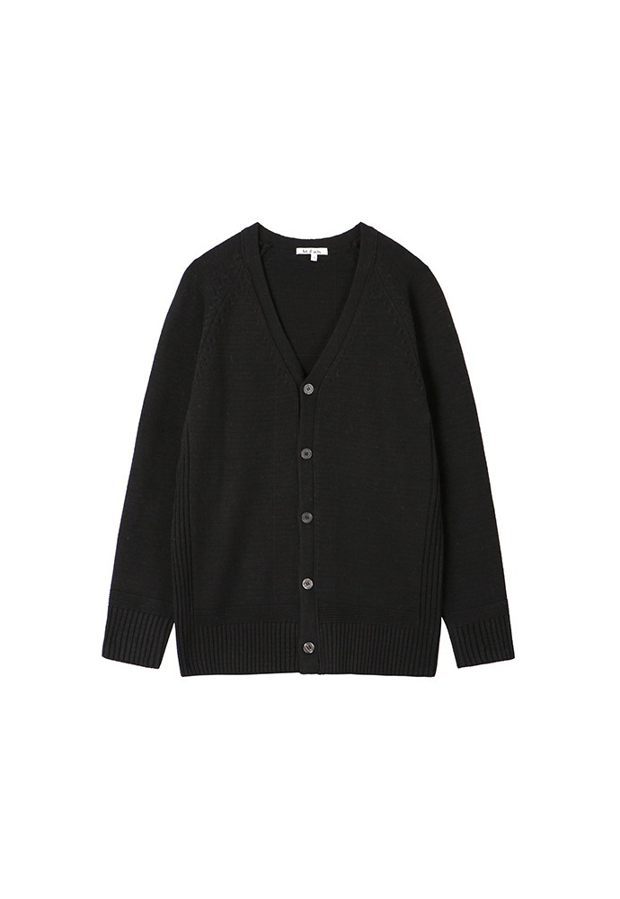 V Neck Knit Cardigan_ Black