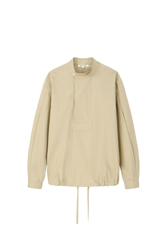 High Neck Pullover Shirts_ Beige