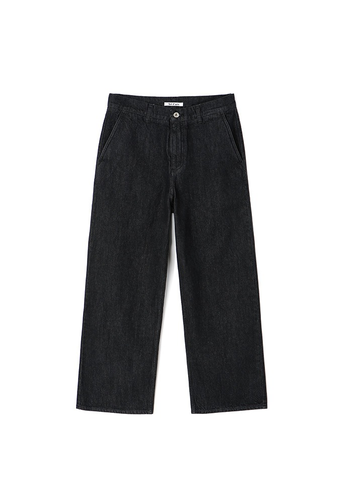 Minimal Wide Denim Pants_ Washed Black