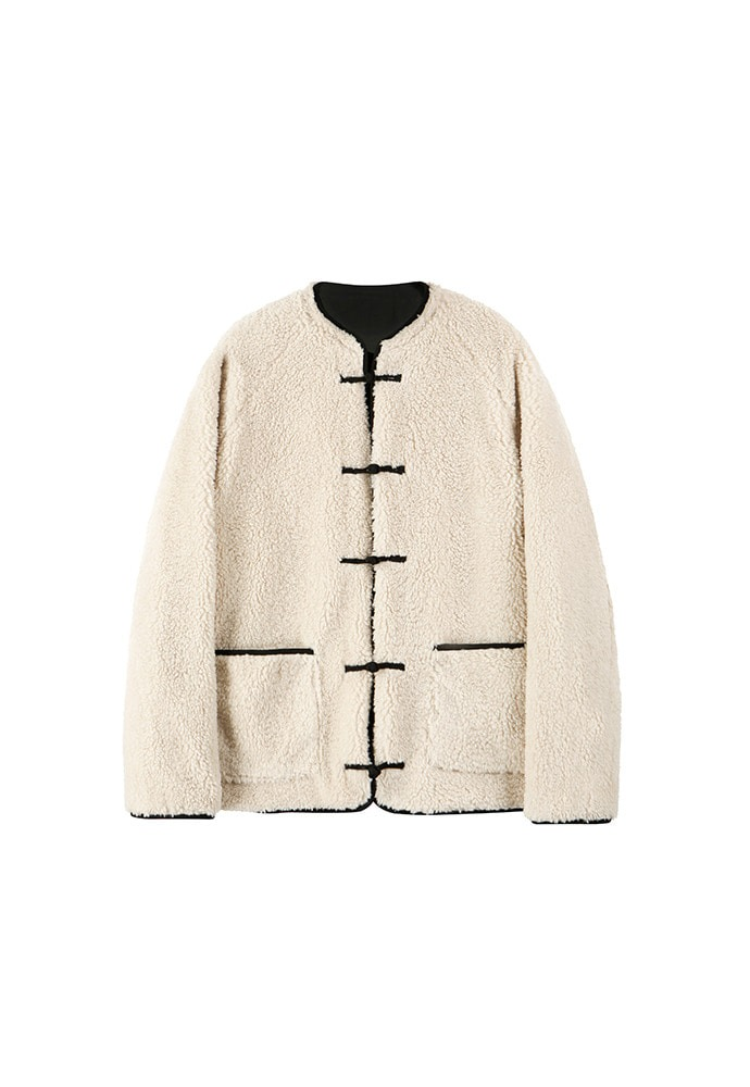 Oriental Styled Fleece Jumper(Reversible)_ Light Beige