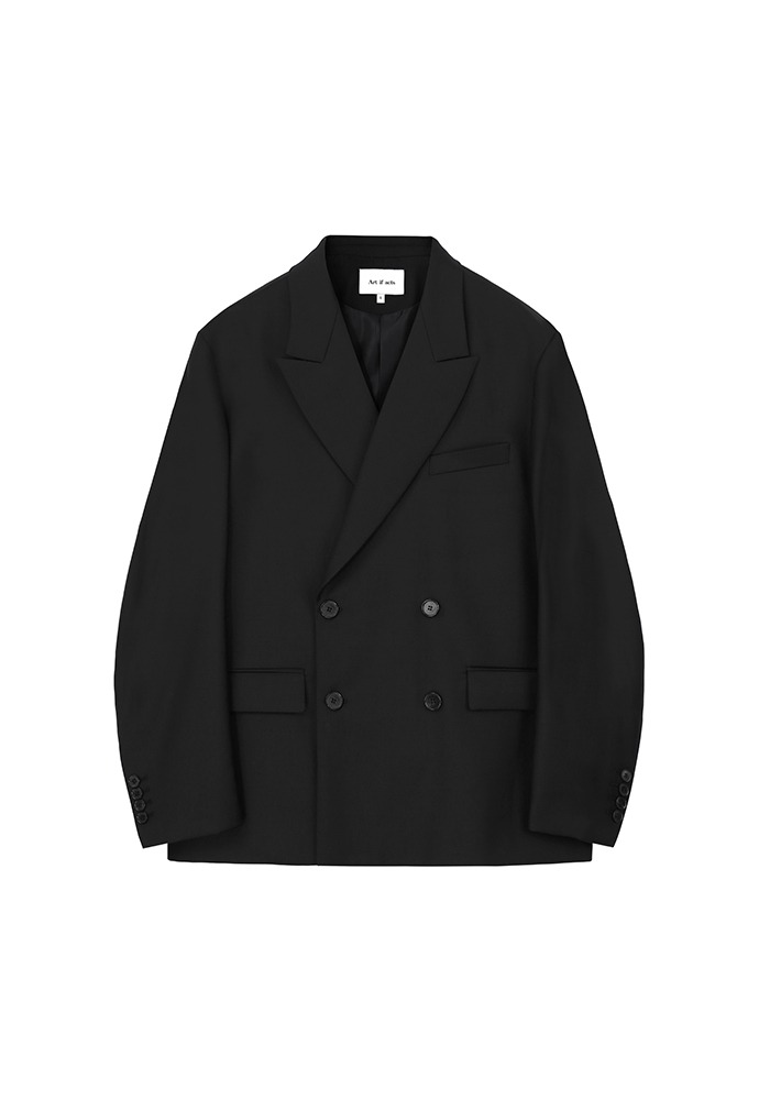 Wool Double Breasted Jacket_ Black