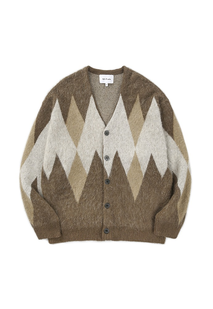 Argyle Mohair Knit Cardigan_ Brown