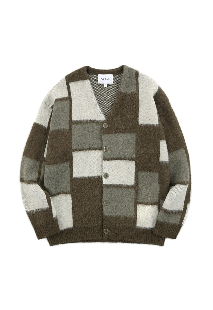 Ractangular Mohair Knit Cardigan_ Brown
