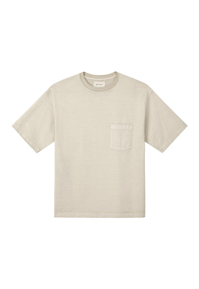 One Pocket Garment Dyeing T-Shirts_ Sand