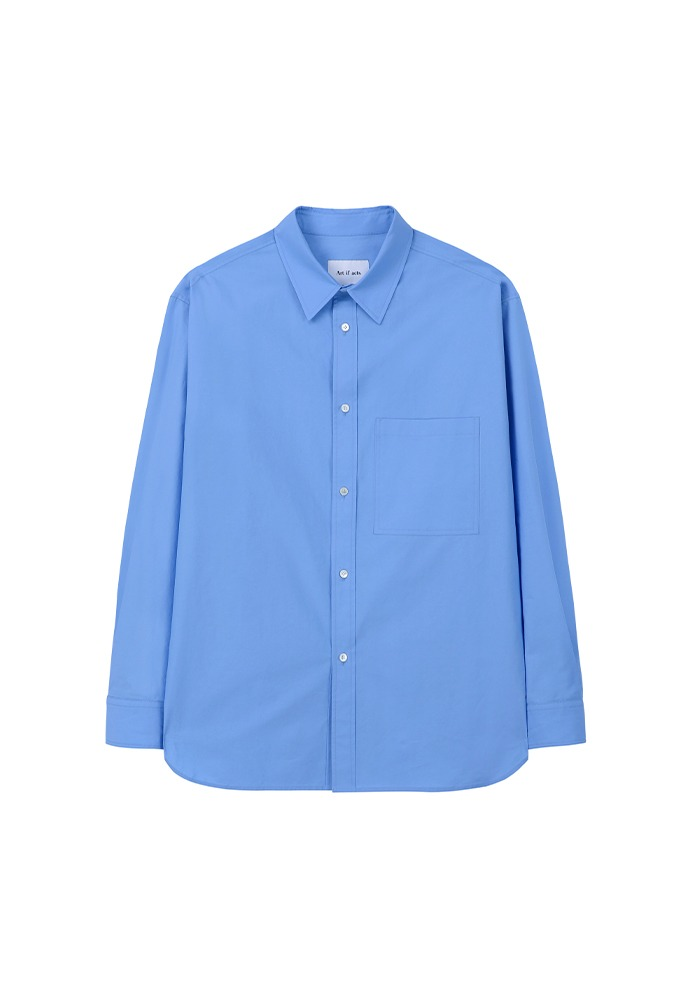 Solid Pocket Shirt_ Sax Blue