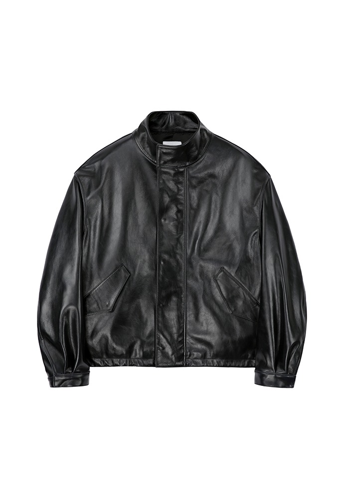 High Neck Collar Leather Jacket_ Black