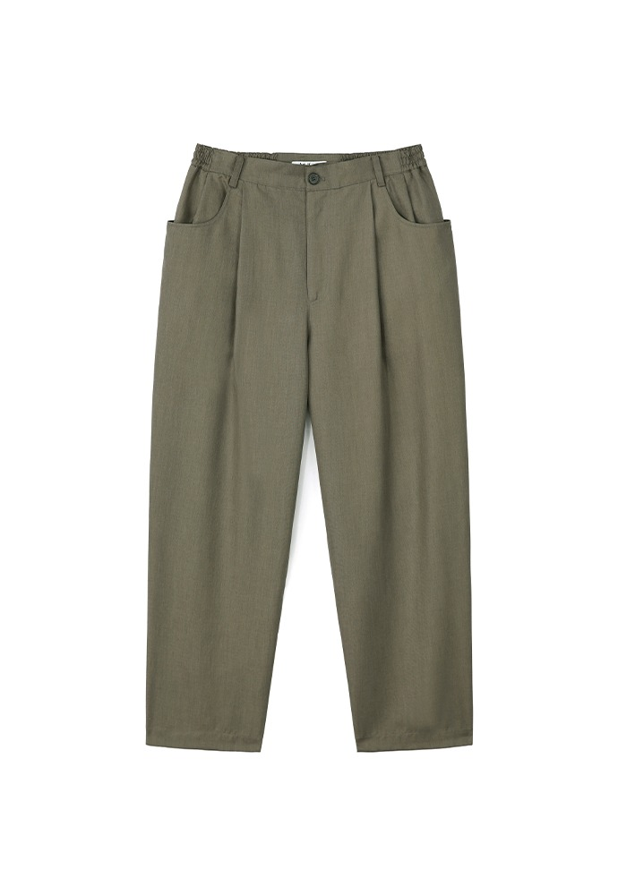 Structured Wide Pants(Relaxed)_ Khaki Brown