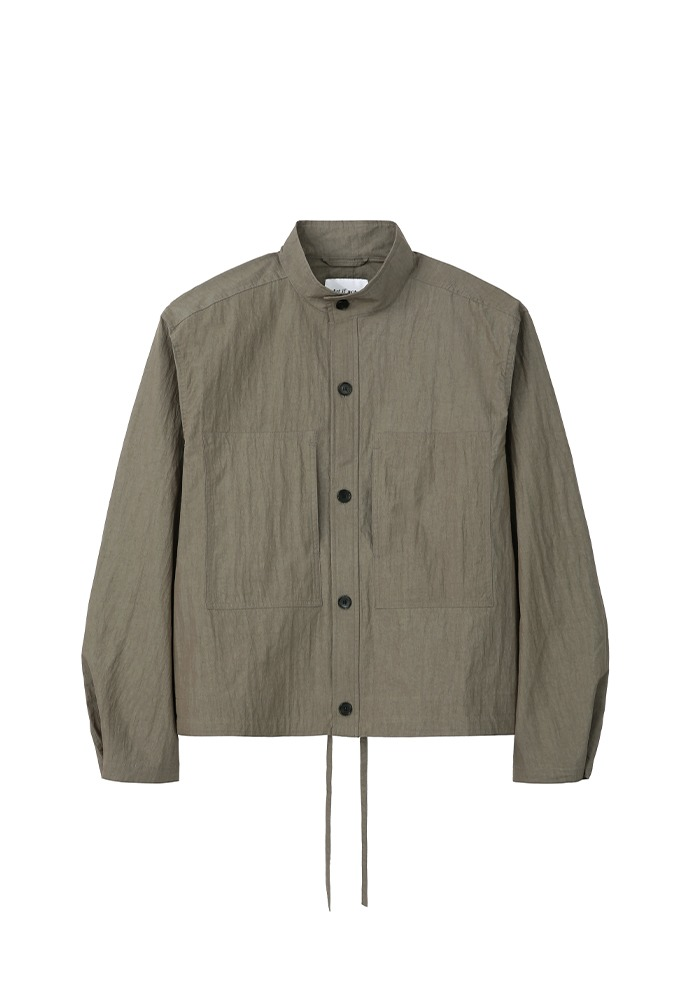 Two Pocket Stand Collar Shirts_ Khaki